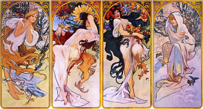 Cropped print of four panels each depicting one of the four seasons personified by a woman, thought to have been printed between 1880 and 1910, by Alfons Mucha. Original file from Library of Congress; this version from trialsanderrors on Flickr